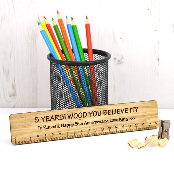 Wooden Ruler 5th Wedding Anniversary Gift Idea 5 Years Etsy