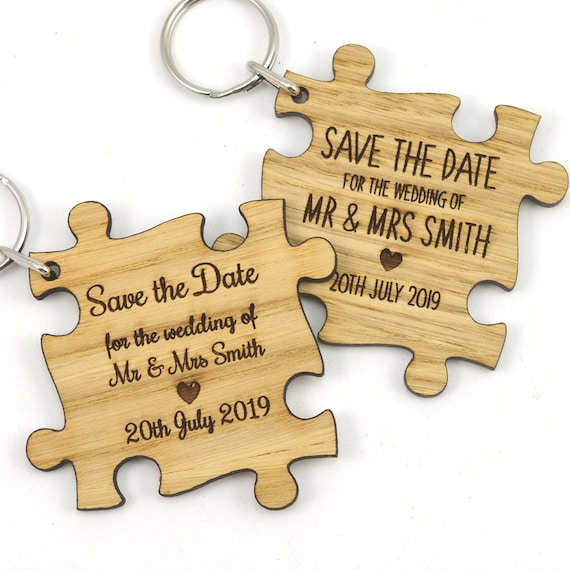 Personalised Wedding Save the Date Wooden Invitation Tags Keyrings