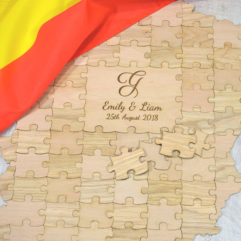 Personalised All Countries Location Wedding Personalized Country Shaped Wooden Jigsaw Puzzle Guestbook