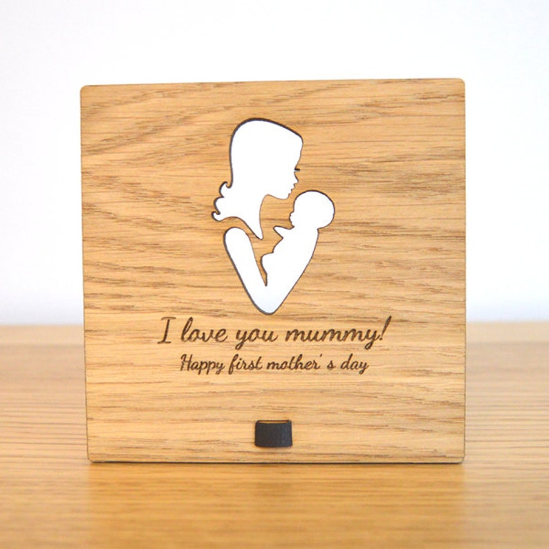 Newborn Baby Mothers Day Wooden Plaque  Personalized Present image 0