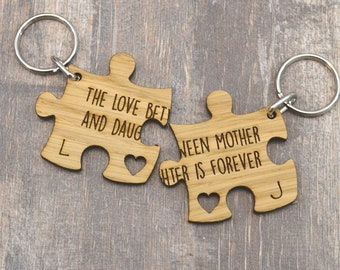 The Love Between Mother And Daughter Is Forever Personalised Jigsaw Keyring Set