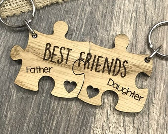 Father And Daughter Best Friends Personalised Heart Jigsaw Keyring Set Gift Idea