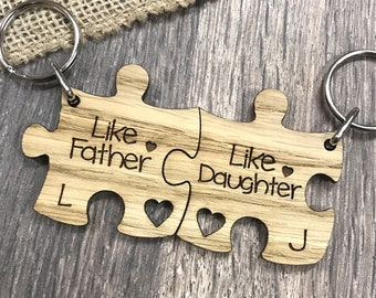 Like Father Like Daughter Cute Wooden Keyring Set for Dad Daddy On Fathers Day
