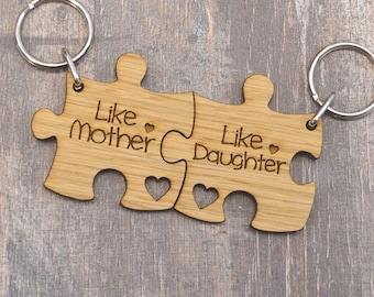 Like Mother Like Daughter - Jigsaw Keyring Set For Mothers Day Gift Present Idea