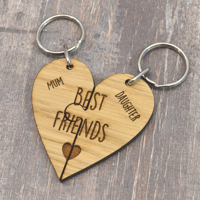 Personalised customised Wooden Heart Keyring Mummy Belongs To engraved mother