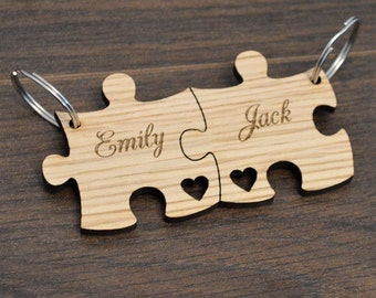 Personalised Jigsaw Keyring Set Birthday Valentines Day Anniversary Gift Present