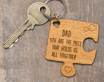 Personalised Oak Wooden Jigsaw Piece Fathers Day Keyring Holds Us All Together - Rustic Personalized Key Chain