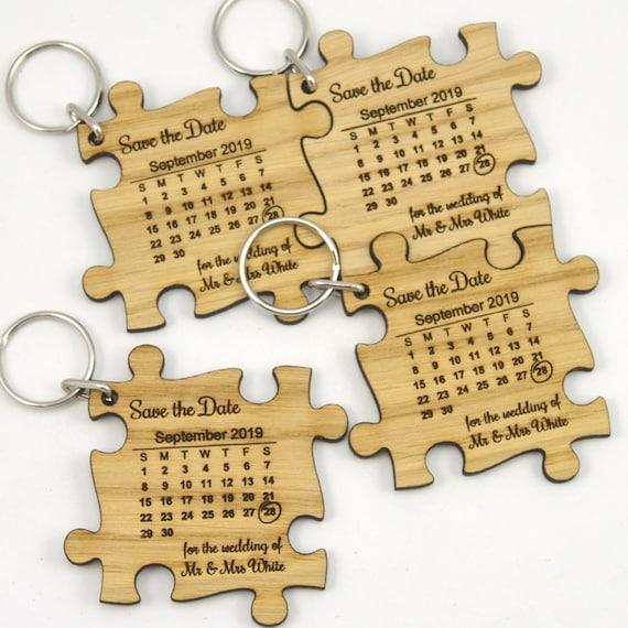 Jigsaw Puzzle Keyring Wooden Oak