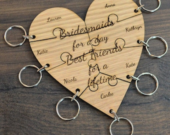 Personalised Jigsaw Heart Keyring Set - Hen Party Bridesmaid Gift Lot