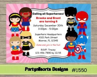 DIY Superhero Wonderwoman And Superman Party Invitations