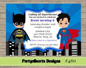 Diy Batman Y Superman Superhéroes Infantiles Invitaciones Etsy