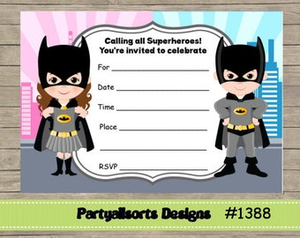 Joint superhero etsy diy fill in yourself batman and girlsuperhero childrens joint invitations solutioingenieria Choice Image