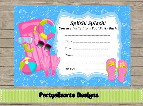 Diy Fill In Yourself Pool Party Girls Invitation Cards