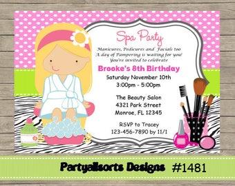 DIY - Spa/ Pamper / Make up Invitations