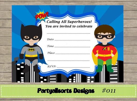 Diy Fill In Yourself Superhero Batman And Robin Invitations Etsy