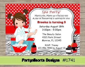 DIY - Spa/ Pamper/Glamour/ Childrens Birthday Invitations