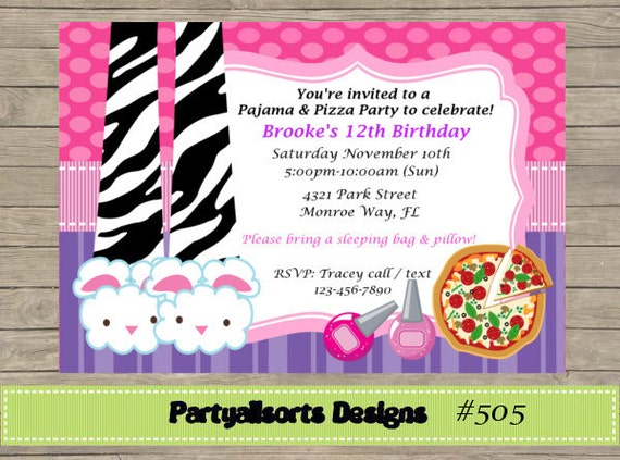 Diy Pajama And Pizza Sleepover Slumber Party Invitations Etsy