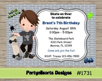 DIY - Skate/Skateboard/Skateboarding Childrens Party Invitations