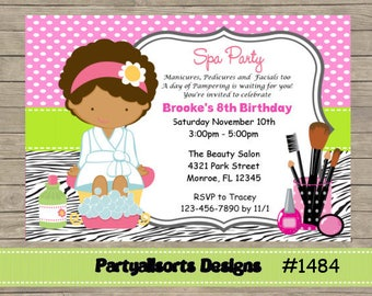 DIY - Spa/ Pamper / Make up/Dark skin/Childrens Party Invitations