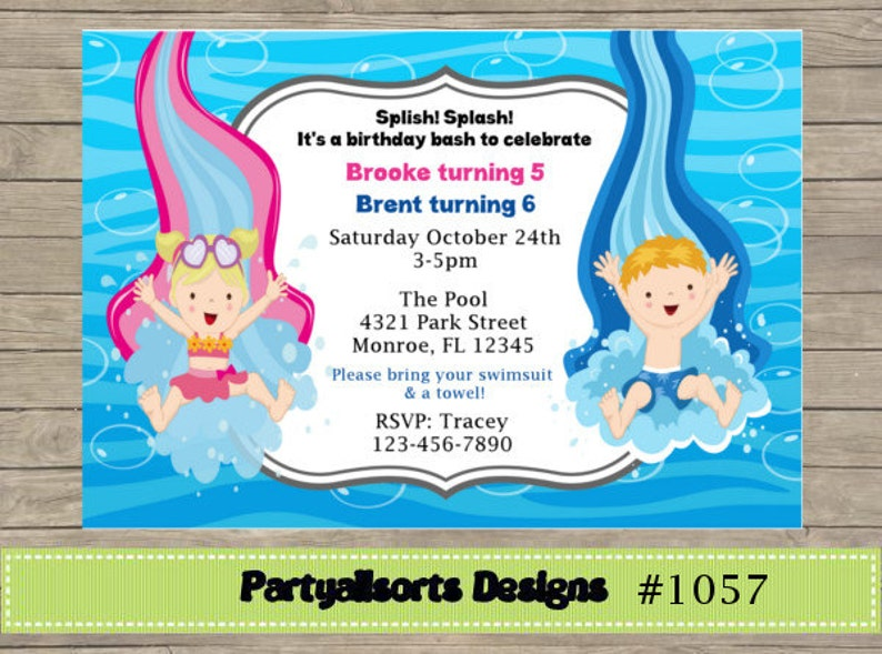 DIY Pool Party Boy And Girl Joint Birthday Invitations