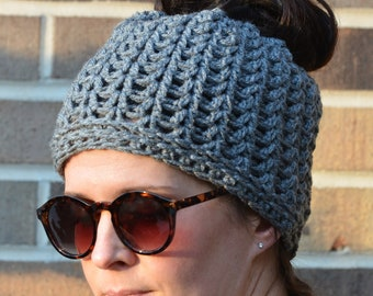 Gray Messy Bun Chunky Crochet Hat, Beanie, Handmade gift ideas, Winter wear