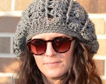 Hand Crochet Super Slouchy Beanie Hat, Beanie, Handmade gift, Natural Winter Wear