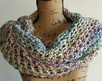Chunky Hand Crocheted Infinity Cowl Neck Scarf Snood Soft Natural Lightweight Circle Ready to be shipped