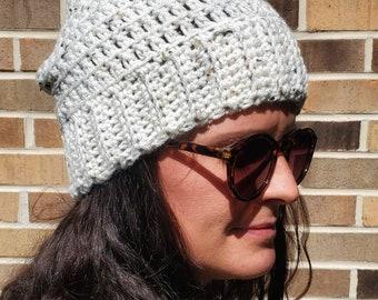 Hand Crochet Cream Slouchy Hat, Beanie, Handmade gift, Winter Wear