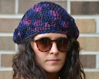 100% Sheep Wool, Hand Crochet Slouchy Hat, Beanie, Handmade gift, Natural Winter Wear
