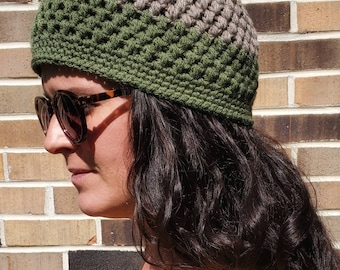Hand Crocheted Two toned Beanie - Fern and Greige Hat - Skull Cap - Ready to be shipped!