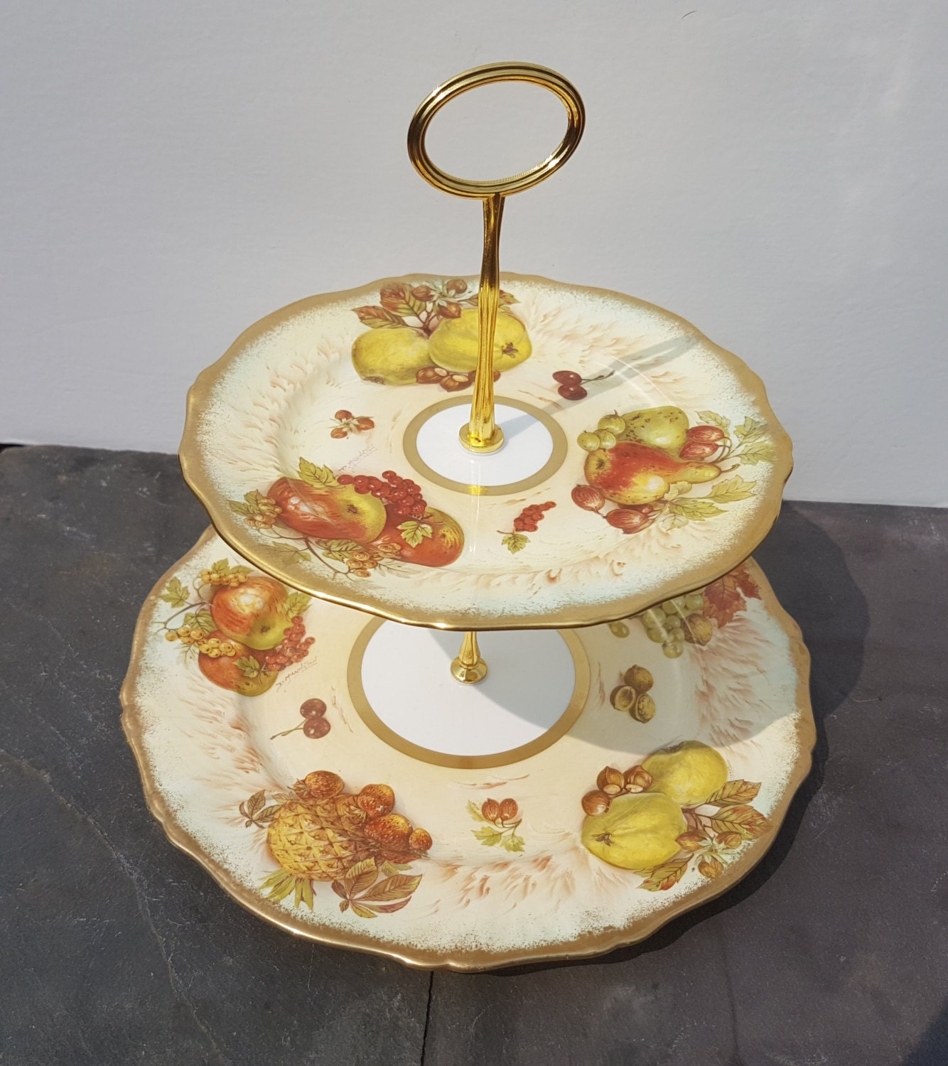 Two Tier Cake Stand Made Using Hammersley Autumn Gold Bone