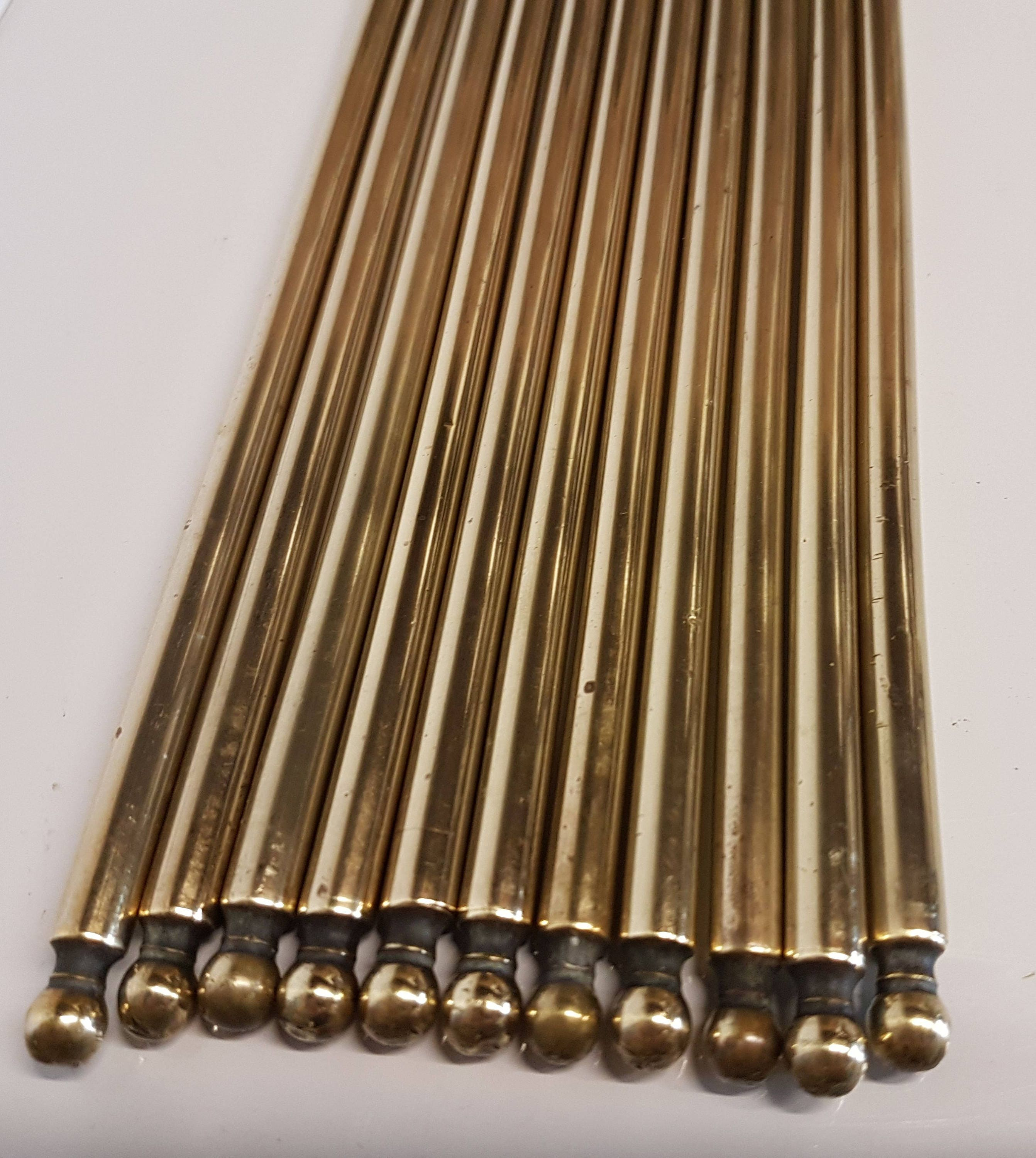 Eleven Brass Stair Rods Reclaimed From A Staircase In A Victorian House ~  Antique Carpet Rods 27 Inches Or 69 Cm