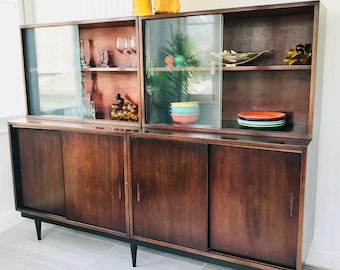 Danish Modern Rosewood Display Cabinets With Glass Doors, Double Mid  Century China Bar Cabinet Hutch, Pair Of MCM Bookshelf Storage Cabinets