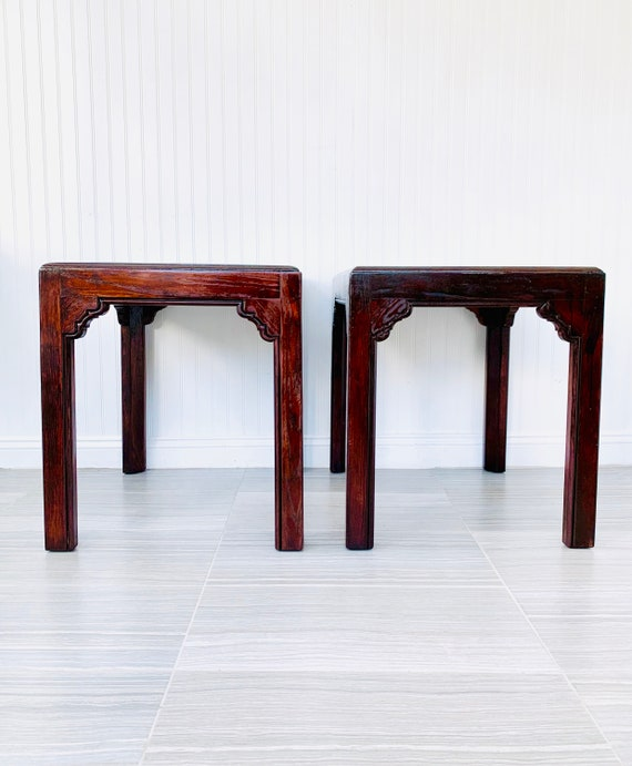 Swell Pair Asian End Tables By Henredon Four Centuries Tall Set Of Chinoiserie Nightstands Dark Stained Oak Vintage Large Side Tables Andrewgaddart Wooden Chair Designs For Living Room Andrewgaddartcom