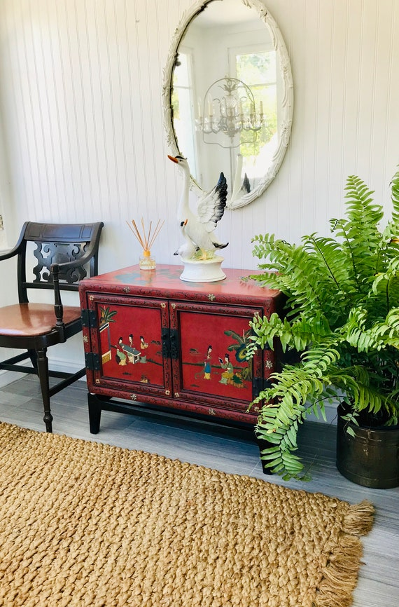 Phenomenal Asian Cabinet With Stand Red Chinoiserie Credenza Or Side Table Stacking Tansu Chest On Base Storage Trunk Hollywood Regency End Table Home Interior And Landscaping Palasignezvosmurscom
