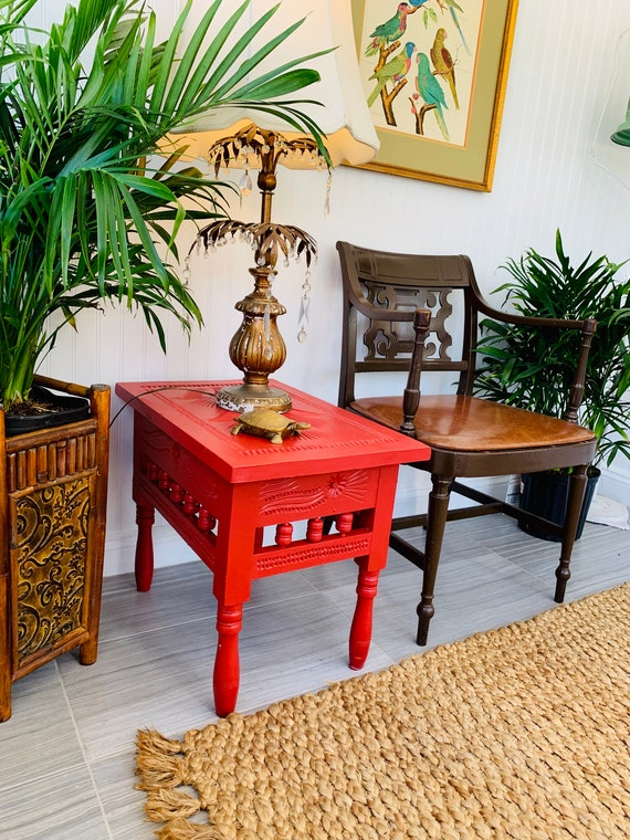 promo code a36ad 2f51a Red Bohemian End Table, Fun Painted Cottage Lamp Table, Exotic Carved Wood  Island Style Side Table or Nightstand