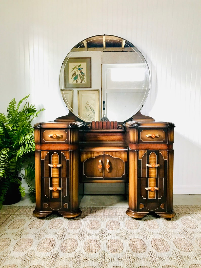 Cool Art Deco Waterfall Vanity With Bakelite Handles Antique Art Nouveau Dresser With Mirror Cottage Chic Style Bedroom Makeup Cosmetics Home Interior And Landscaping Ologienasavecom