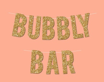 "Gold Sparkly ""Bubbly Bar"" DIY New Year's Eve Banner - Digital Printable Instant Download"