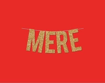 """Gold Sparkly """"MERE"""" Banner - DIY Digital Printable Instant Download"""