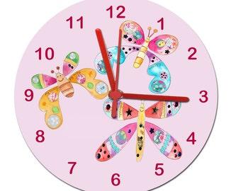 Girls Wall Clock,Girls Room Clock,Non Ticking Clock,Kids Room Clock,Tell  The Time Clock,Butterfly Clock,Kids Clocks,pink Clock