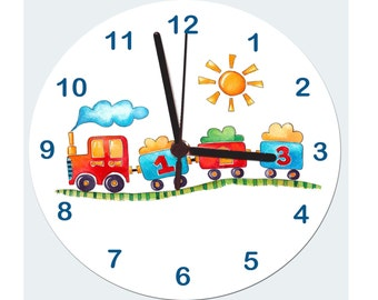 Zug, Jungen Uhr, Nicht Tickende Uhr, Kinder Zimmer Uhr, Sagen Die Stechuhr,  Kindergarten Uhr Kids Uhren