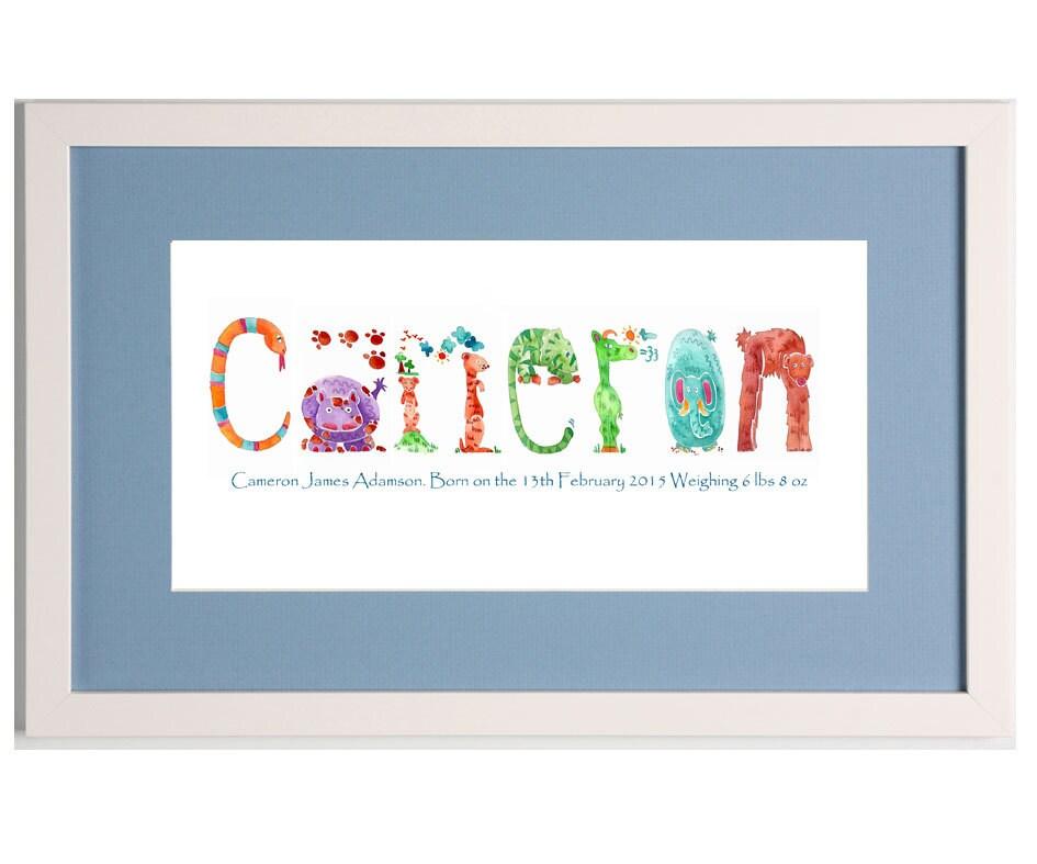 Enmarcado de cuadro, regalo del bebé nombre, personalizada enmarcada ...