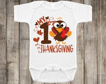 First Thanksgiving Turkey Boy Thanksgiving Baby Onesie