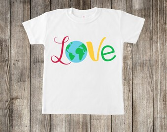 Love Planet Earth Earthday Little Kids T-shirt or Baby Onesie