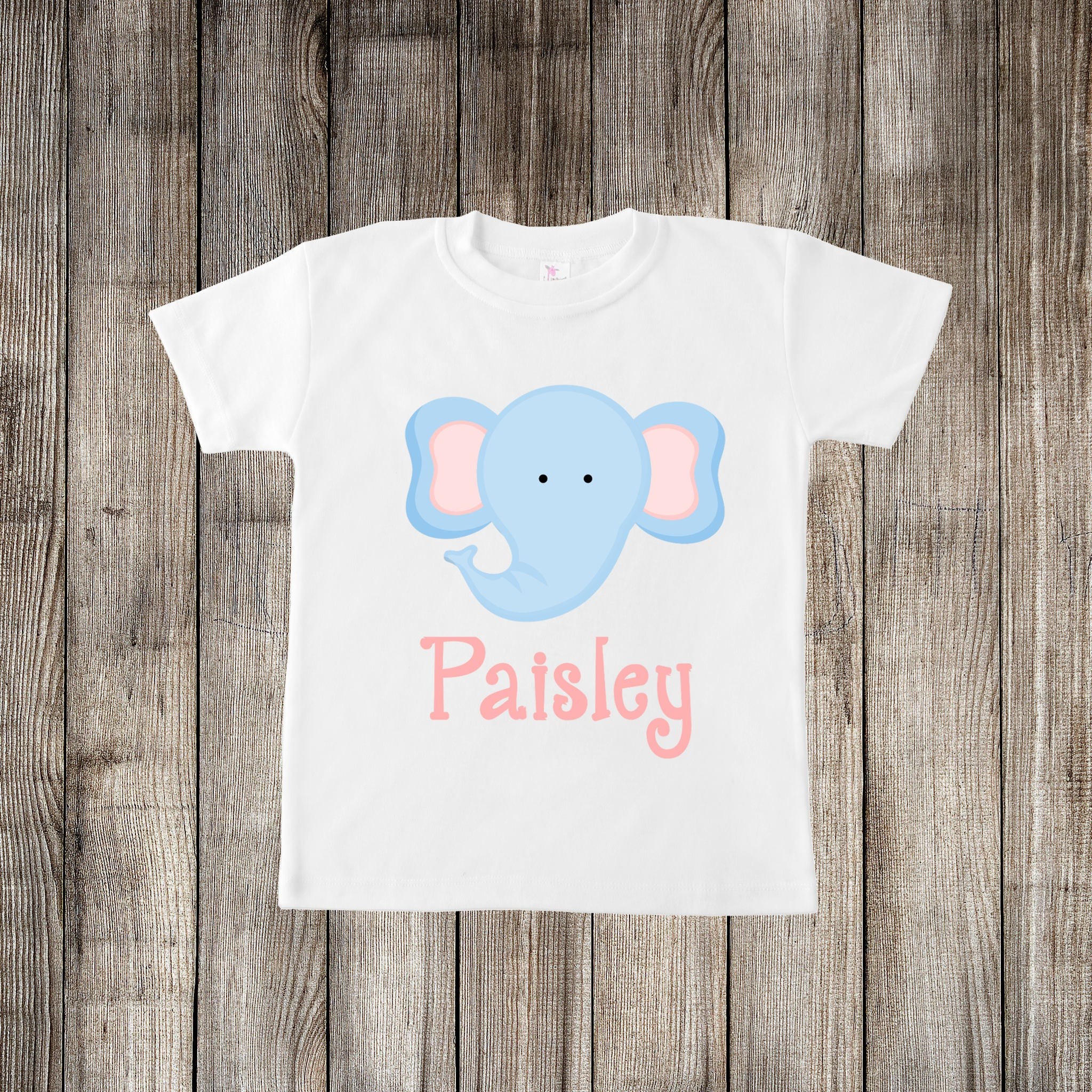 21123a16ac33c Personalized Child s Name Elephant Face Jungle Animal Little Kids T-shirt  or Baby Onesie