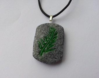 Polymer Clay Fern Leaf Tag Pendant