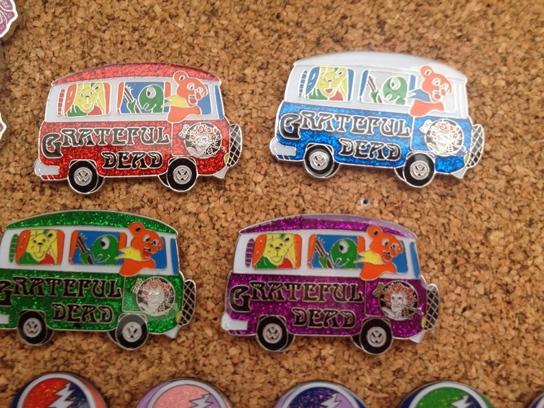 Grateful dead VW tour bus pins,4 color choices,you choose one pin,Dead and  co,Jerry Garcia,Bob Weir