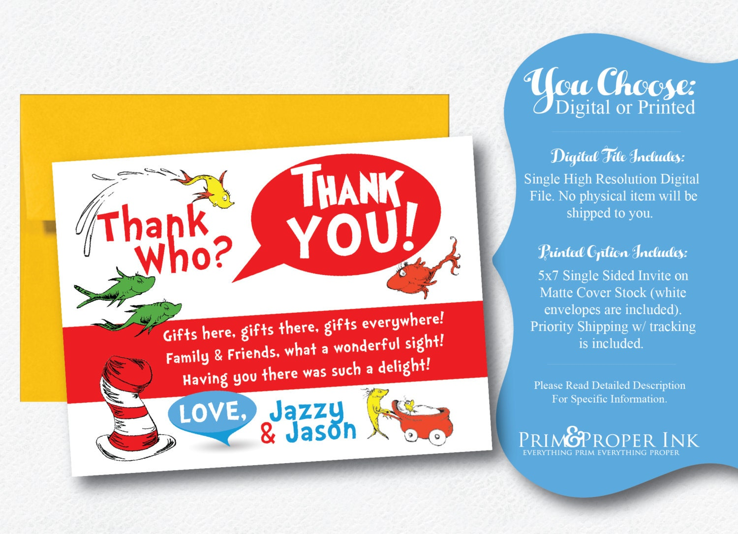 Dr. Seuss | Thank You Card | One Fish Two Fish | New Fish Thank You ...