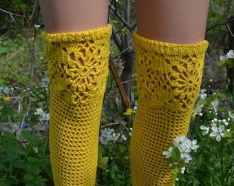 "Leg warmers knitted ""Yellow summer""  Crochet leg warmers. 100% cotton. Handmade. Leggings are openwork knitted."