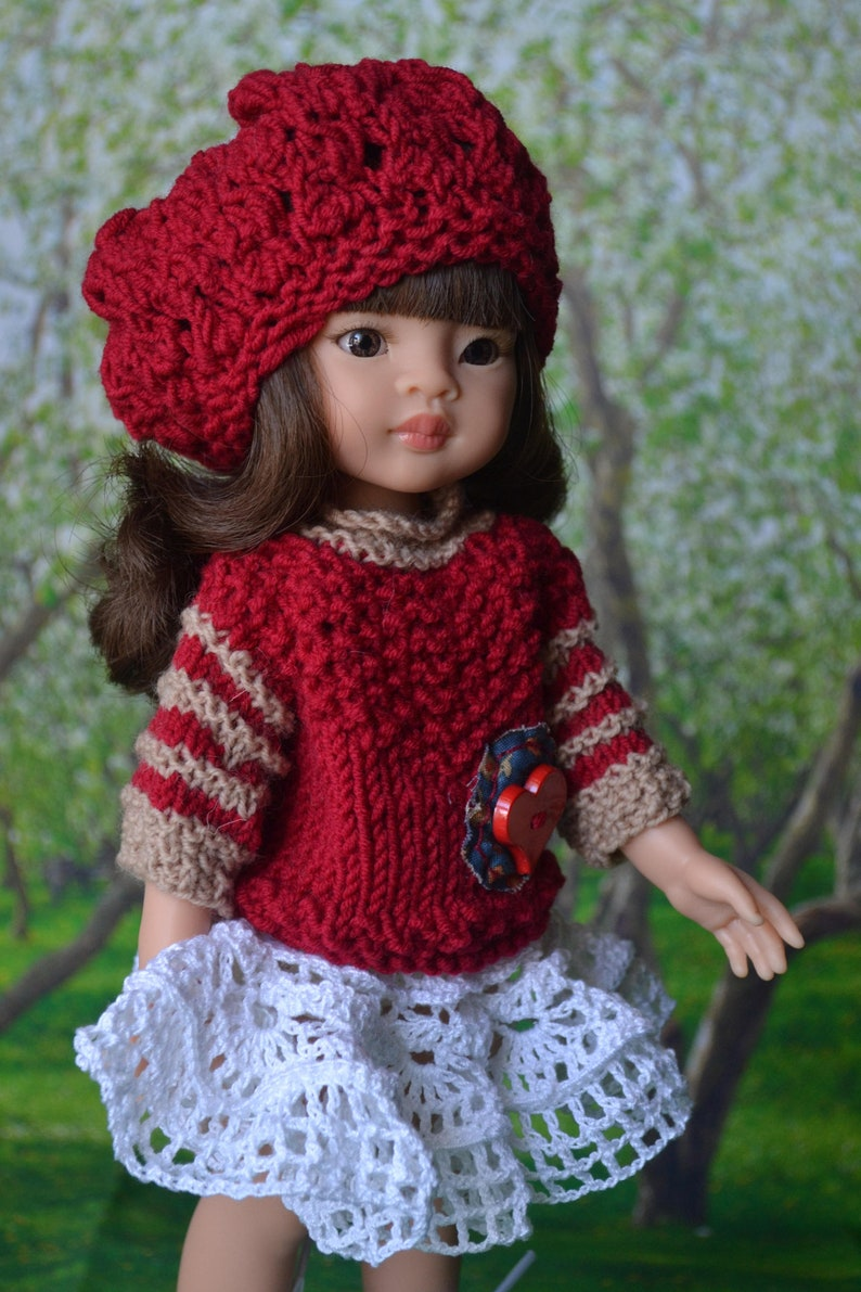 9642ebeb18d Pullover skirt cap. For dolls Paola Reina. Red. White.
